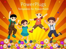 PowerPlugs: PowerPoint template with four happy kids jumping in garden of flowers in yellow background