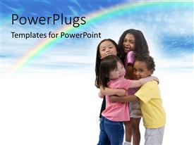 Presentation featuring four happy little kids hugging on white background with rainbow in sky