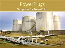 PowerPlugs: PowerPoint template with four huge power plants on a site with grass