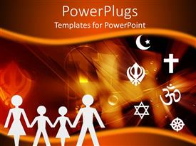 PowerPlugs: PowerPoint template with four images of paper cut family standing beside some symbols