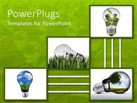 PowerPlugs: PowerPoint template with four inter connected tiles with light bulbs on a green background