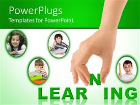PowerPoint template displaying four kids learning from books with large hand completing learning