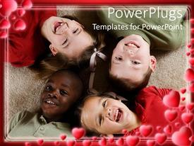 PowerPlugs: PowerPoint template with four kids lying down face up on a cream colored rug
