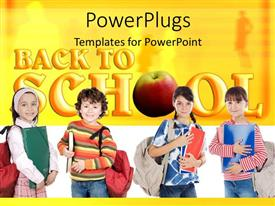 PowerPlugs: PowerPoint template with four kids prepared for school with text BACK TO SCHOOL