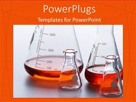 PowerPoint template displaying four lab beakers holding orange liquid over orange background