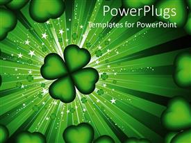 PowerPlugs: PowerPoint template with four leaf clover and hearts frame on green stardust background