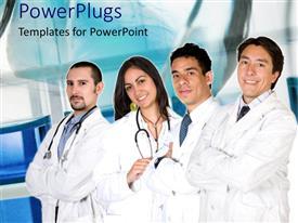 PowerPoint template displaying four medical professionals with stethoscopes and lab coats