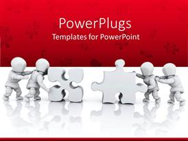 PowerPlugs: PowerPoint template with four men solving the puzzles over the red background