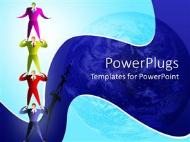 PowerPoint template displaying four multi colored acrobats standing on each other on a blue background