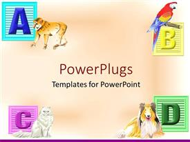 PowerPlugs: PowerPoint template with four multi colored alphabet tiles on a pink background