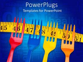 PowerPoint template displaying four multi colored forks on a yellow measuring tape