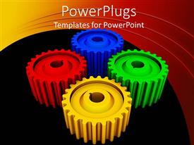PowerPlugs: PowerPoint template with four multi colored gears on a black and red background