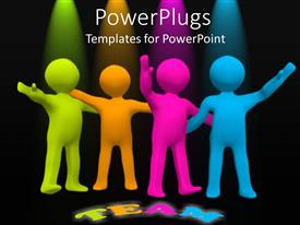 PowerPlugs: PowerPoint template with four multi colored human figures with a Team text