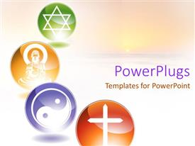 PowerPoint template displaying four multi coloured circular tiles showing different religious symbols