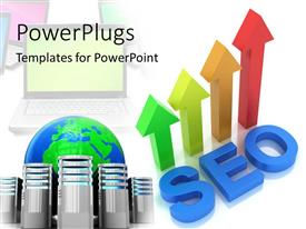 PowerPlugs: PowerPoint template with four multicolored 3D arrows with text which spell out the word'seo'