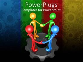PowerPlugs: PowerPoint template with four multicolored 3d human characters holding hands on a gear