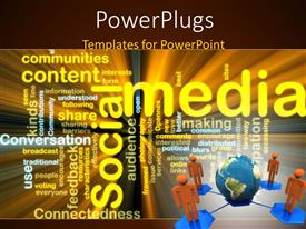 PowerPlugs: PowerPoint template with four orange figures connected to planet Earth in corer of Social Media word cloud