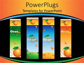 PowerPoint template displaying four orange juice containers, black, blue, orange, green background
