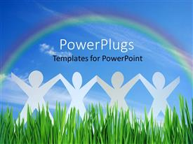 PowerPlugs: PowerPoint template with four paper dolls standing in grass under rainbow