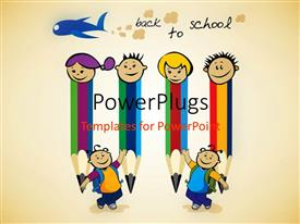 PowerPoint template displaying four pencil friends prepare for back to school with light brown color