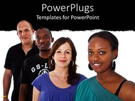PowerPoint template displaying four people from different races standing on a black and white background