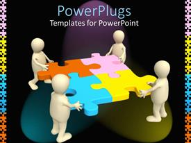 PowerPlugs: PowerPoint template with four people holding the puzzle pieces together