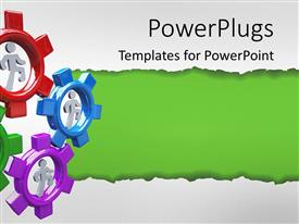 PowerPlugs: PowerPoint template with four people run in colorful gear wheels to symbolize collaboration and teamwork