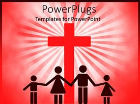 PowerPlugs: PowerPoint template with four people silhouettes holding hands in front of big red cross, family with mother, father and girl and boy