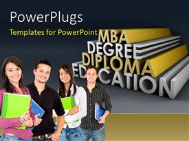 PowerPoint template displaying four people smiling and holding note books with some text behind them