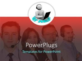 PowerPlugs: PowerPoint template with four people wearing headsets and smiling together