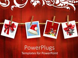 PowerPlugs: PowerPoint template with four pictures peged to a rope on a red background