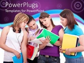 PowerPoint template displaying four pretty adult females holding and reading colorful books