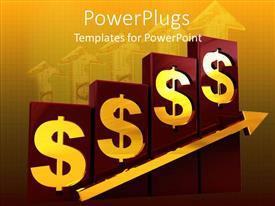 PowerPlugs: PowerPoint template with four red bars with gold dollar symbols and an arrow