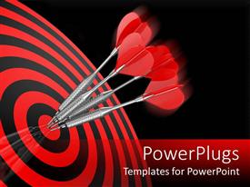 PowerPlugs: PowerPoint template with four red darts hitting the center target of a red dart board
