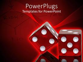 PowerPoint template displaying four red dice in red background with flowchart written RISK?