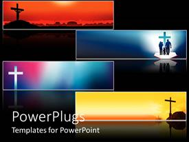 PowerPlugs: PowerPoint template with four religious cross banners with various backgrounds