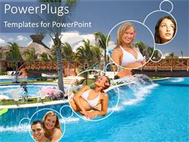 PowerPoint template displaying four round tiles with happy people and a resort view background