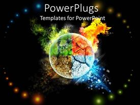 PowerPlugs: PowerPoint template with four seasons of year depicted on globe surface with black background
