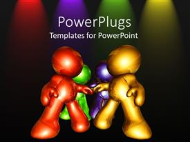 PowerPlugs: PowerPoint template with four shinny multi colored 3D human characters on a black background