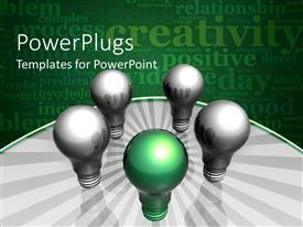 A PowerPoint featuring four silver bulbs and one white bulb in a circle