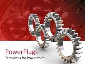 PowerPlugs: PowerPoint template with four silver colored interlocking gears on red and white background