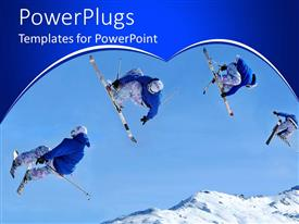 PowerPoint template displaying four ski divers jumping in mid air over snow mountains
