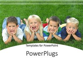 PowerPlugs: PowerPoint template with four small children lying on grassy field making funny faces