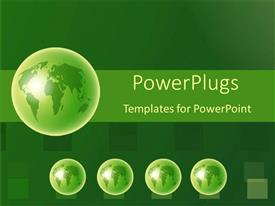 PowerPoint template displaying four small green globes with a large green globe