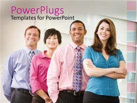 PowerPoint template displaying four smiling business people in brightly colored dress shirts standing in a line