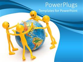 PowerPoint template displaying four smiling yellow figures standing around a globe with blue and white background