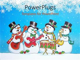 PowerPlugs: PowerPoint template with four snow men cartoon characters playing different musical instruments