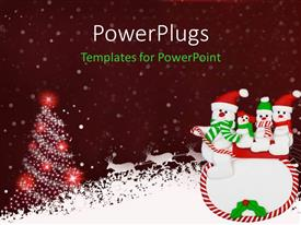 PowerPlugs: PowerPoint template with four snow men on a sleight over a Christmas theme