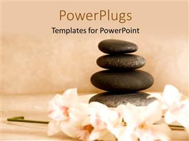 PowerPoint template displaying four spa stones arranged on each other with some flowers