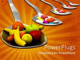 PowerPoint template displaying four spoons with different tablets and one larger one with fruits